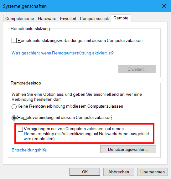 Windows 10 RDP Network Level Authentication
