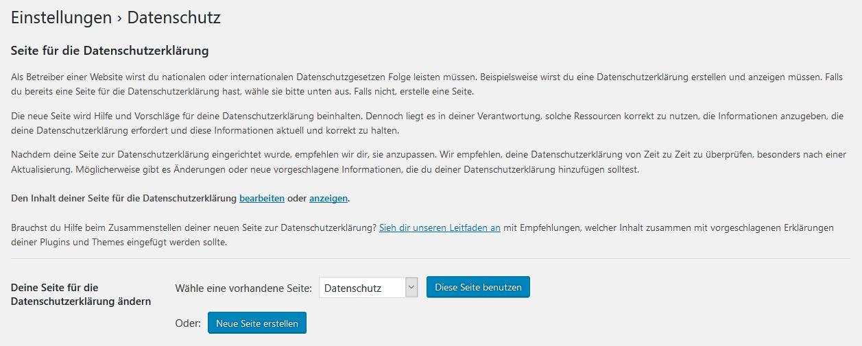 WordPress - Datenschutz