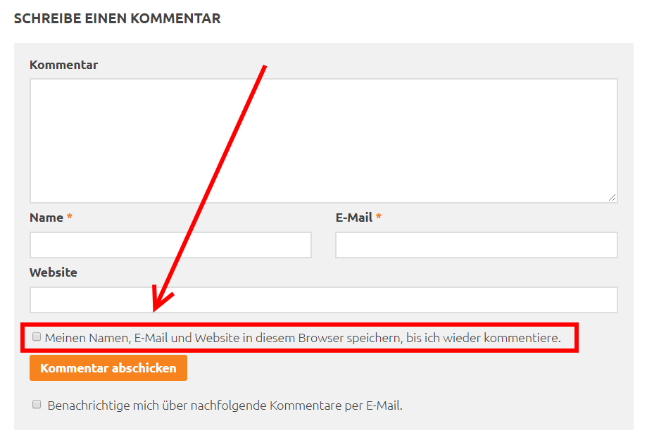 WordPress - Kommentar-Cookie