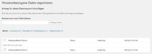 WordPress - Personenbezogene Daten exportieren