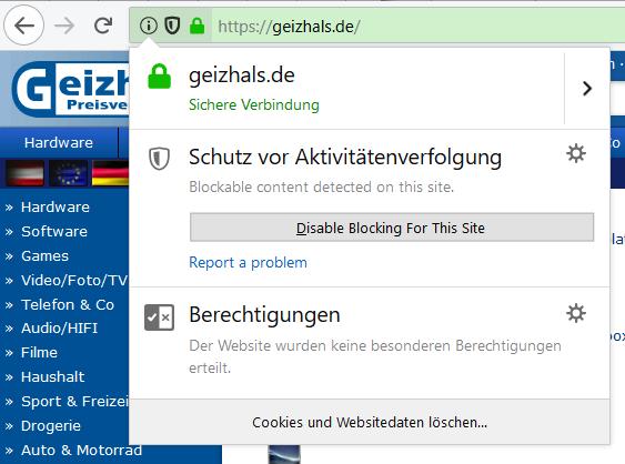 Firefox 62 Trackingschutz