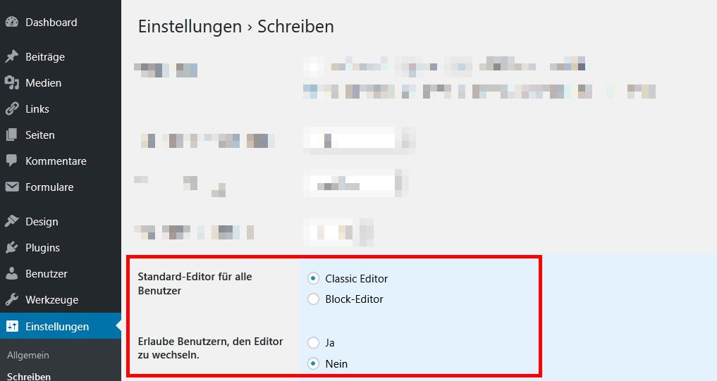Classic Editor Plugin Einstellungen