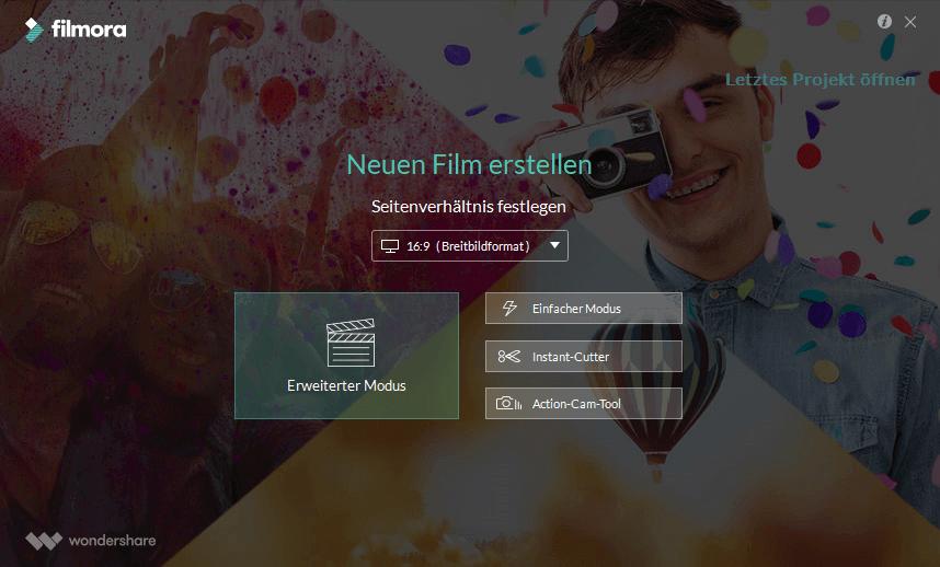 Filmora Video Editor Start