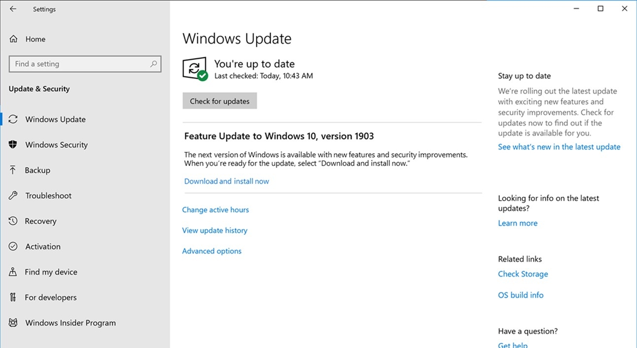 Windows 10 Version 1903 - Windows Update (Bild: Microsoft)