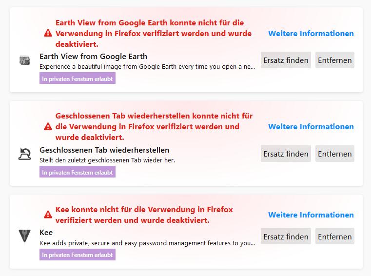 Firefox - Deaktivierte Add-ons